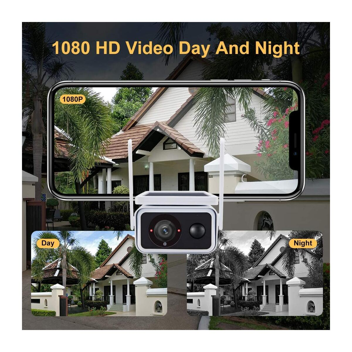 Doenssi Outdoor Security Camera Wireless, Solar Powered Rechargeable Camera WiFi 1080P Home IP Surveillance with PIR Motion Detection, Night Vision, 2-Way Audio, IP66 Waterproof, Cloud/SD, IOS/Android
