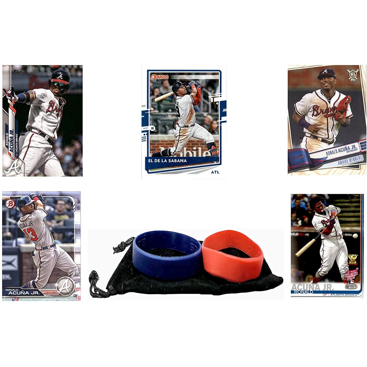 Ronald Acuna Jr. Baseball Cards (5) ASSORTED Atlanta Braves Trading Card and Wristbands Gift Bundle