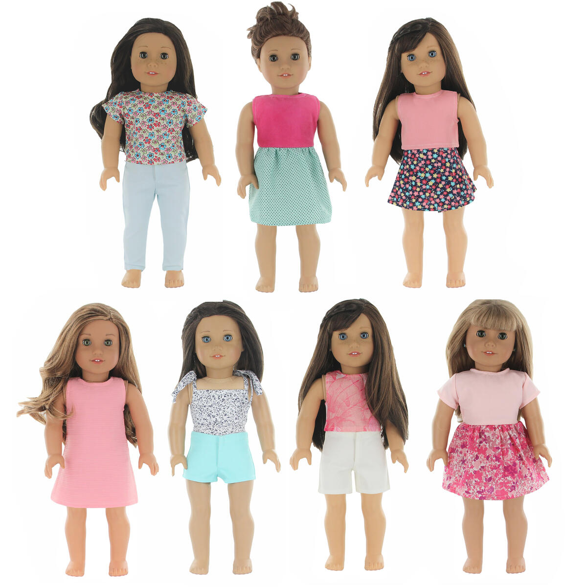 18 Inch Doll Clothes - Fits American Girl Doll Clothes- Wardrobe Makeover, 7 Outfits
