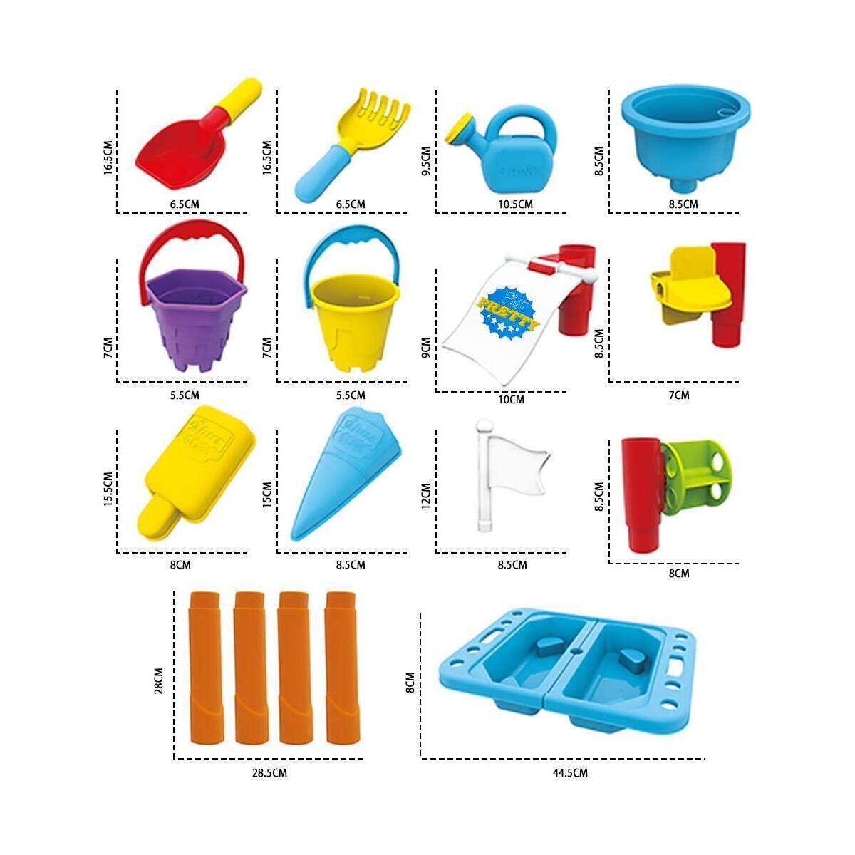 Happytime Kids Sand and Water Table Outdoor Indoor Beach Play Activity Table Sandbox with Cover and 18 Pcs Accessories for Kids, Toddlers and Children