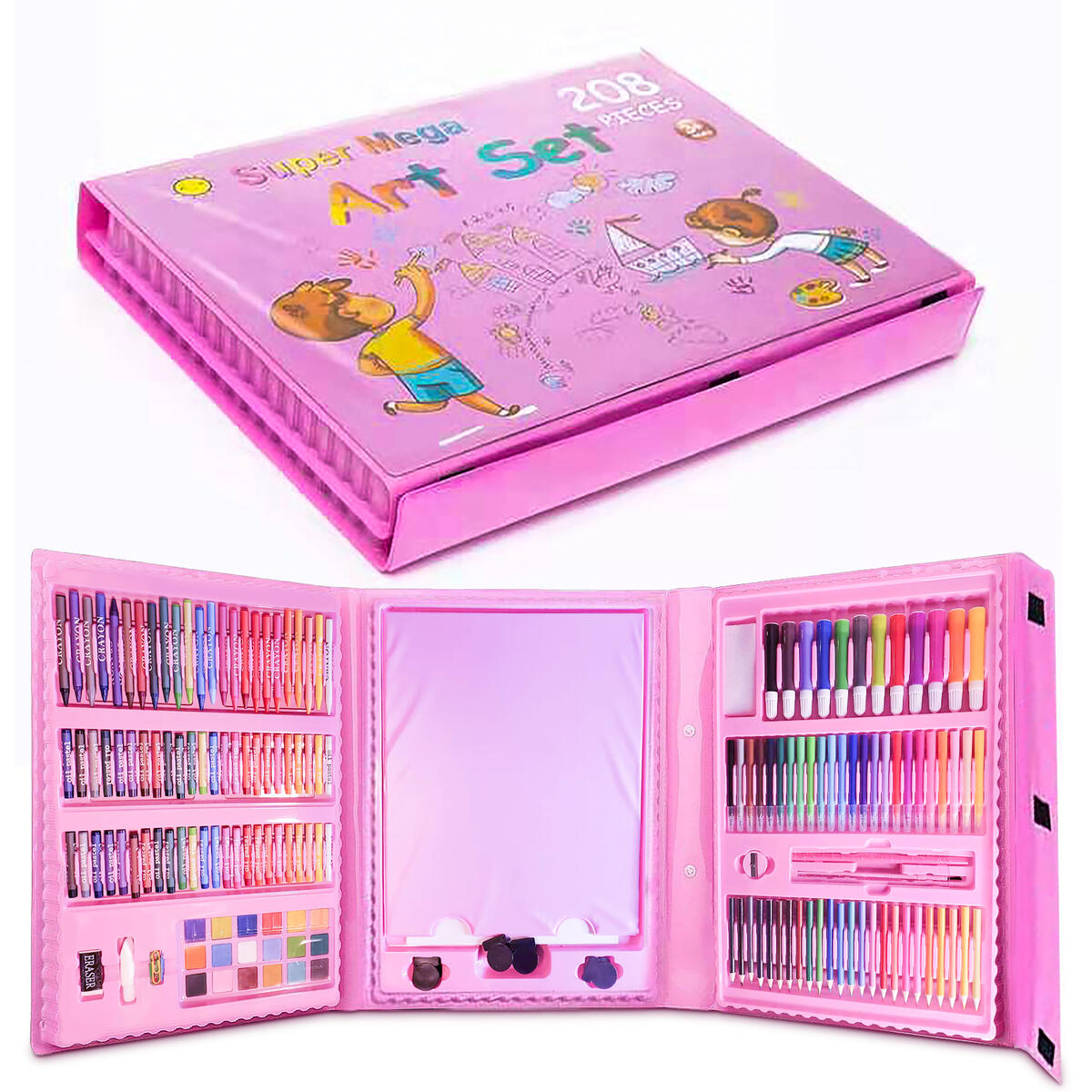 BuddynBuddies-208 Pcs Art Set, Art Kit Sketching and Drawing Handle Art Box with Oil Pastels, Crayons, Colored Pencils, Markers, Paint Brush, Watercolor Cakes, Sketchpad for Kids and Toddler