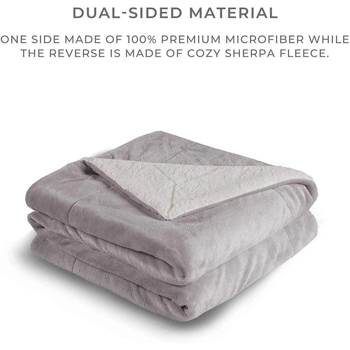Soft Sherpa Fleece King Size Plush Blanket, Fuzzy Plush Cozy Flannel Reversible Blanket for Sofa, Couch, Bed - 108x90 Inches, Grey