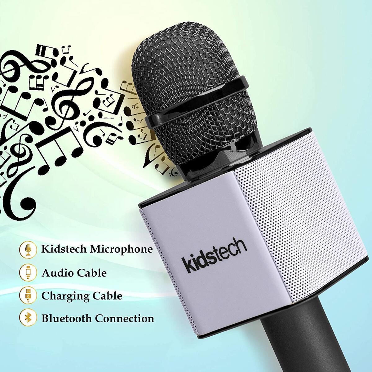 Kidstech Portable Wireless Karaoke Microphone with Bluetooth Speaker Connects to Phone or USB for Awesome Music Playing