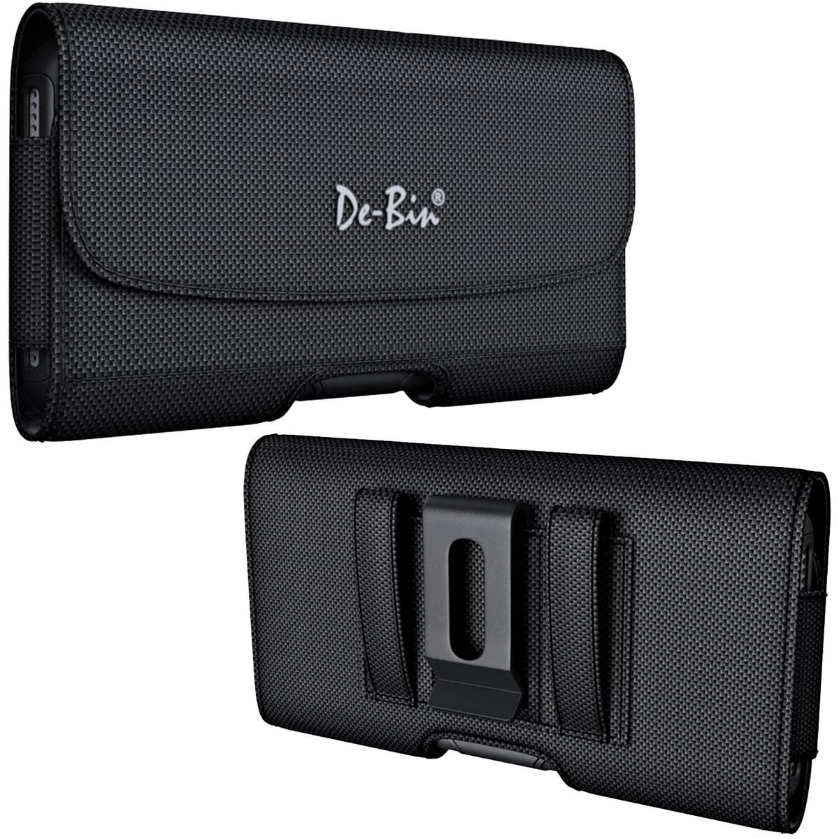 De-Bin Cell Phone Holster Designed for iPhone 12 Pro / 12/ XR Belt Case- Premium Belt Holder Pouch with Belt Clip Belt Loops Cover Built-in Card Slot Fits Phone with Case on- Black