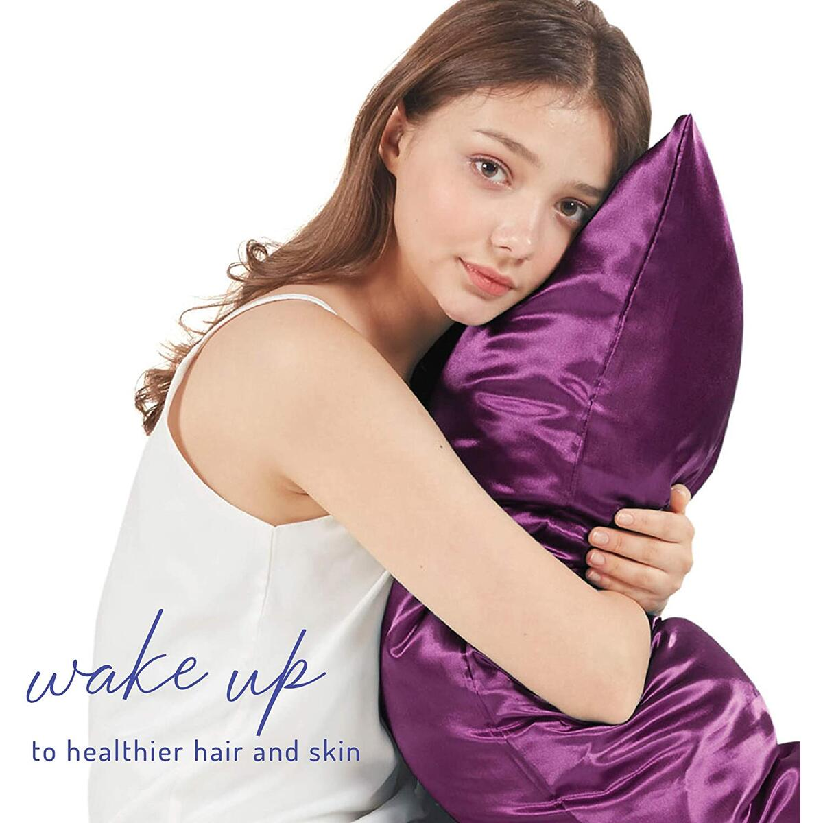 Satin Purple Pillow Cases Standard Size Set of 2, 20 x 26 - Reduce Irritation & Frizzy | Satin Weave Cover for Silky Comfort | Retains Color in Easy Machine Wash & Dry
