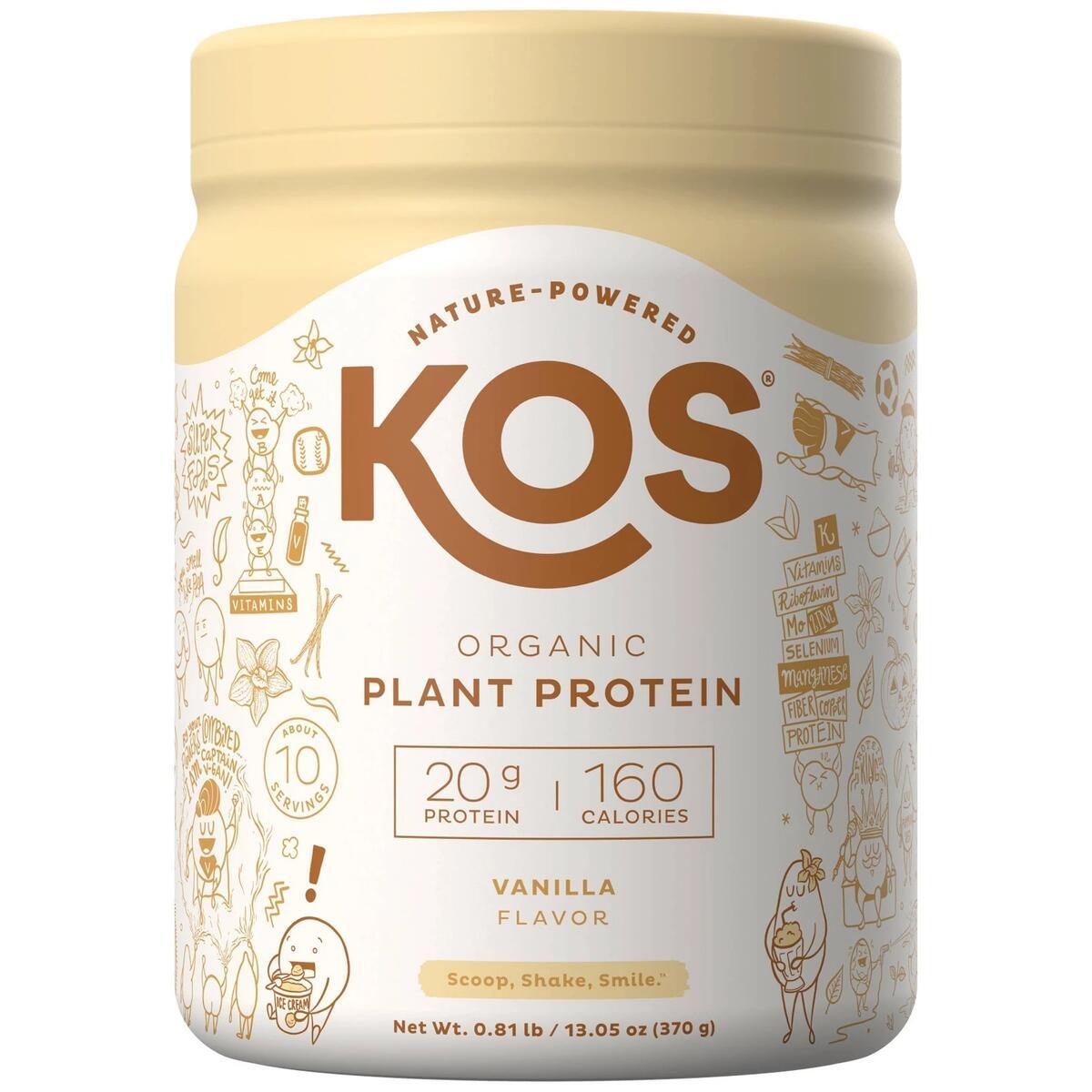 KOS Organic Vegan Plant Protein Powder - Vanilla - 13.05oz