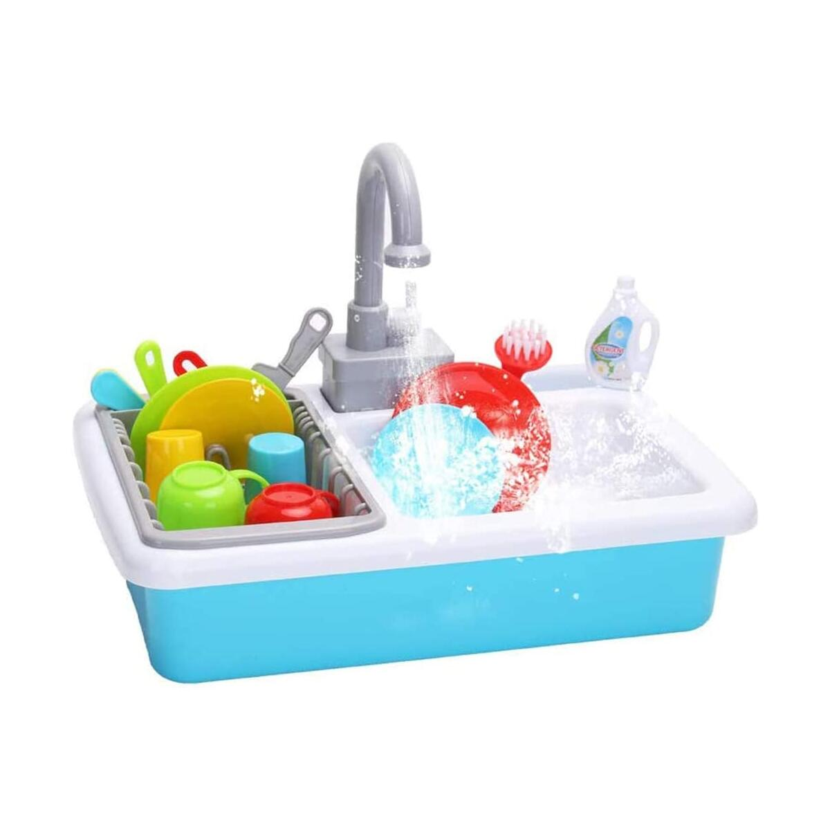 HANMUN Toy Kitchen Set Play Kitchen Toy Utensils Play Dishes Accessories Plates Dishwasher Playing Toy with Running Water, Play House Pretend Role Play Toys for Boys Girls