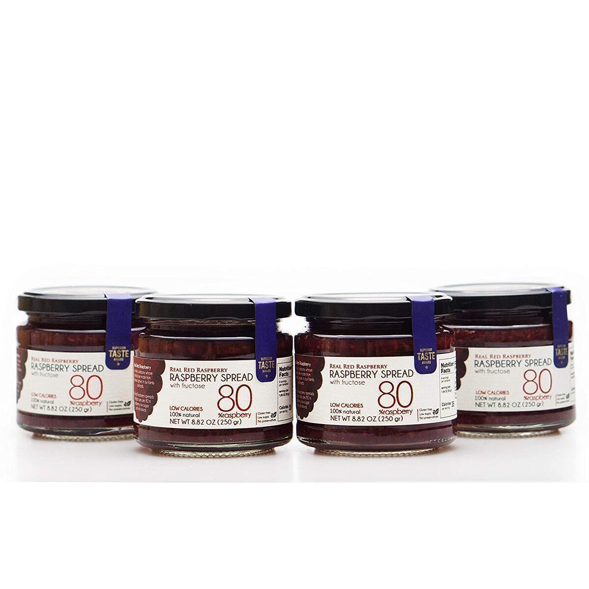 4 Jars of Real Red Raspberry Jam, Handmade of 80% Fresh Whole Raspberries, Low Sugar, Diabetic, Gluten Free Net 8.82 Oz