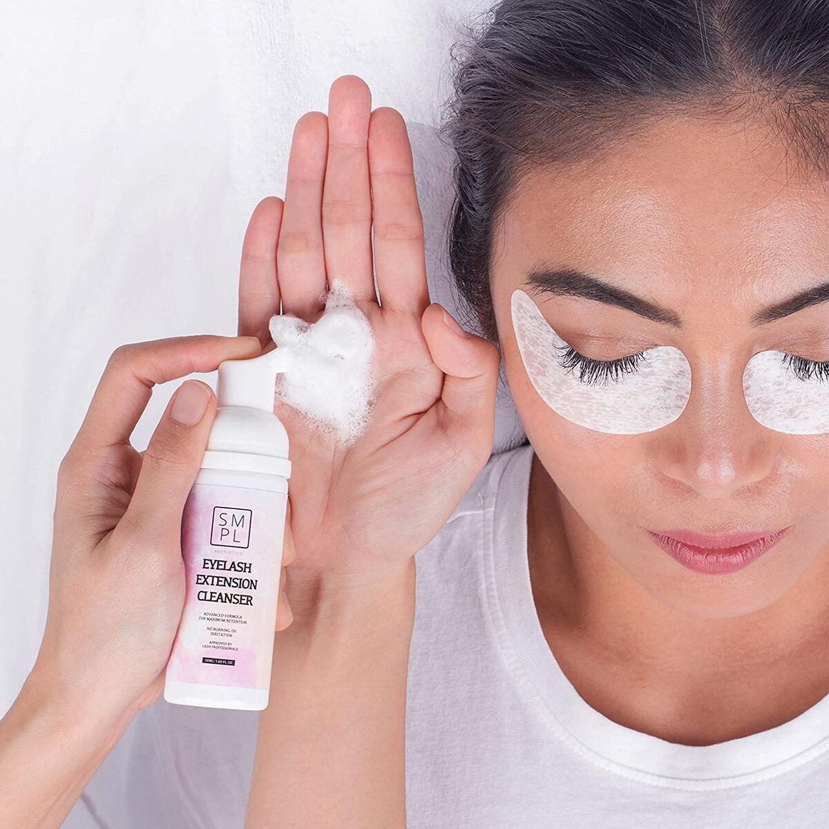 SMPL Aesthetics Eyelash Extension Shampoo Kit – Lash / Eyelid Cleanser for Extensions + Brush + Rinse Bottle + Free eBook