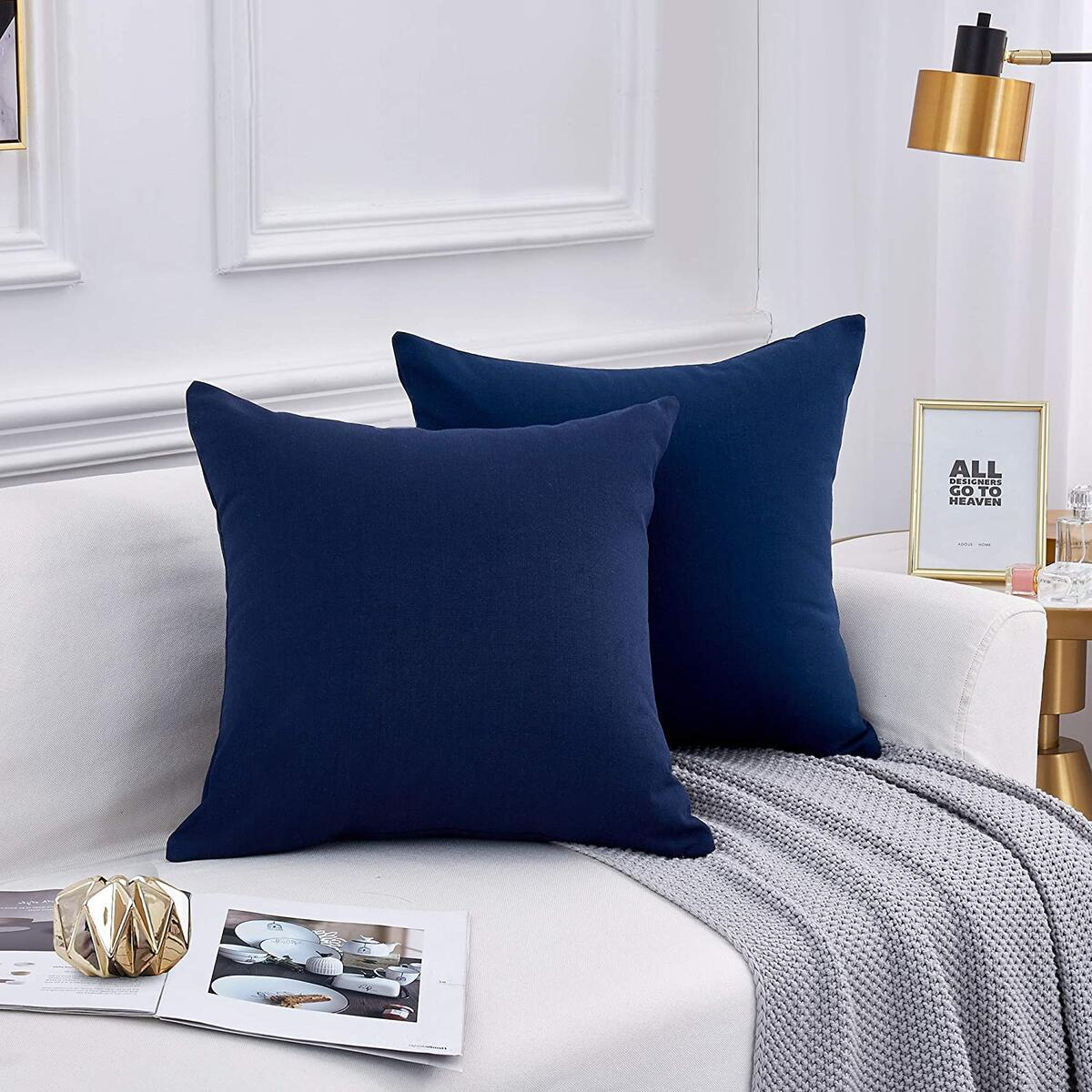 Leeden Navy Dark Blue Throw Pillow Covers 18 x 18 Linen Like Pillowcases Cushions Case for Couch Sofa Bed Outdoor Patio Bistro Chair Seat Square Set of 2, 18x18 inch(45x45cm)