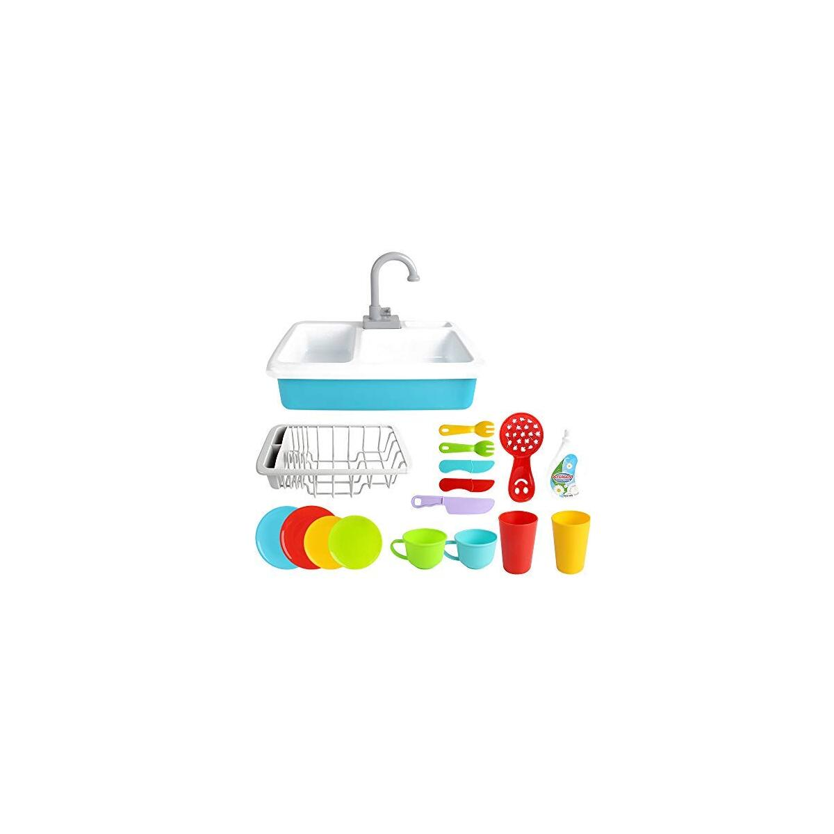Kitchen Sink Toys Pretend Play - Dishwasher Playing Toy with Running Water Wash Up Kitchen Toys Pretend Role Play Toys for Boys Girls Toddlers