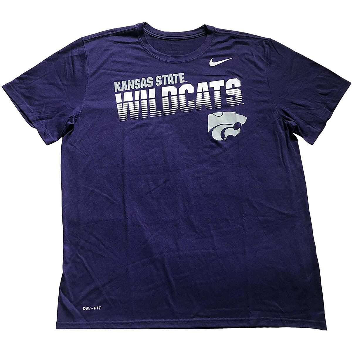 Nike Men's Kansas State University NCAA Dri-Fit Short Sleeve 100% Polyester T-Shirt (X-Large, Purple AO6775)