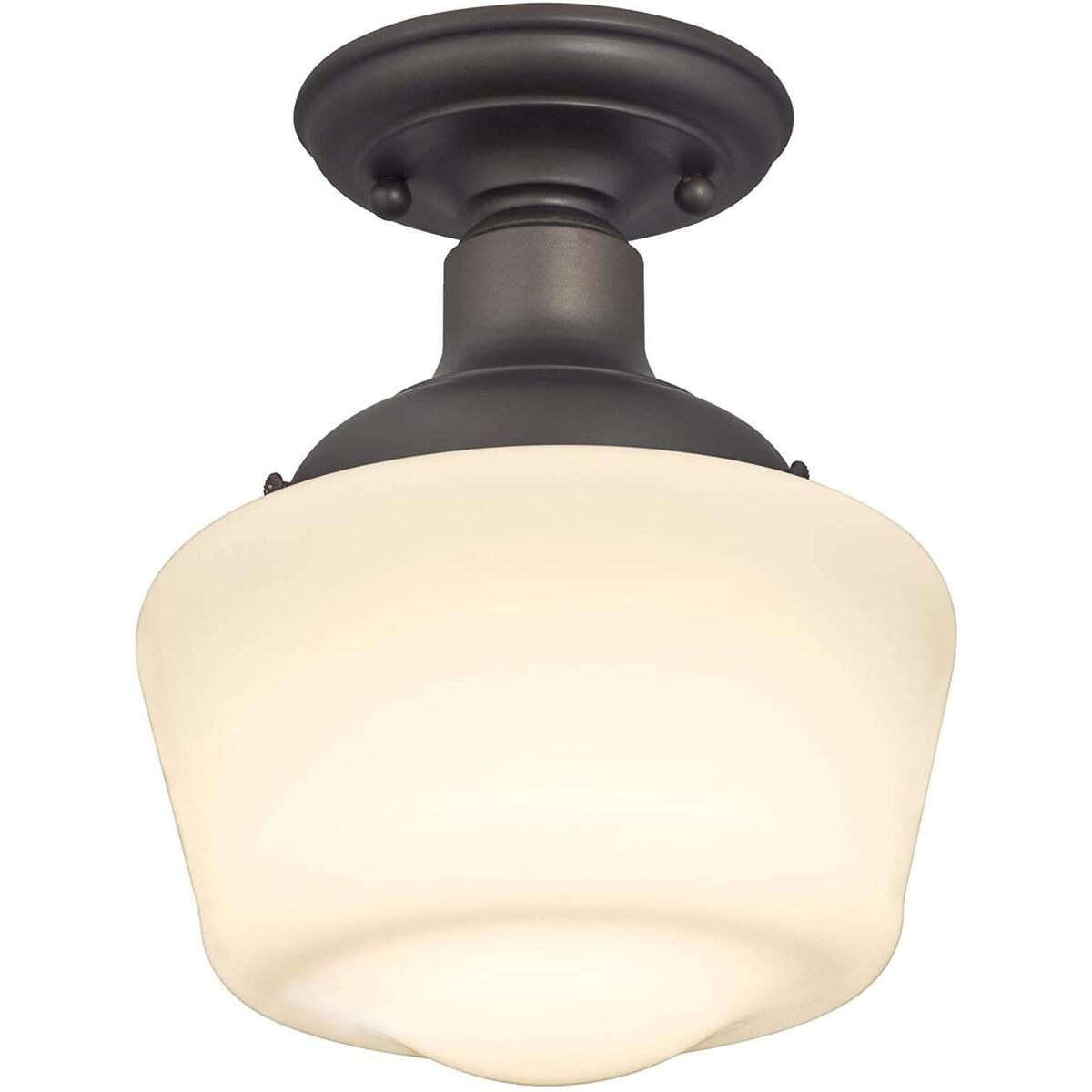 One Light Indoor Semi-Flush Ceiling Fixture with Oil Rubbed Bronze Finish and White Opal Glass