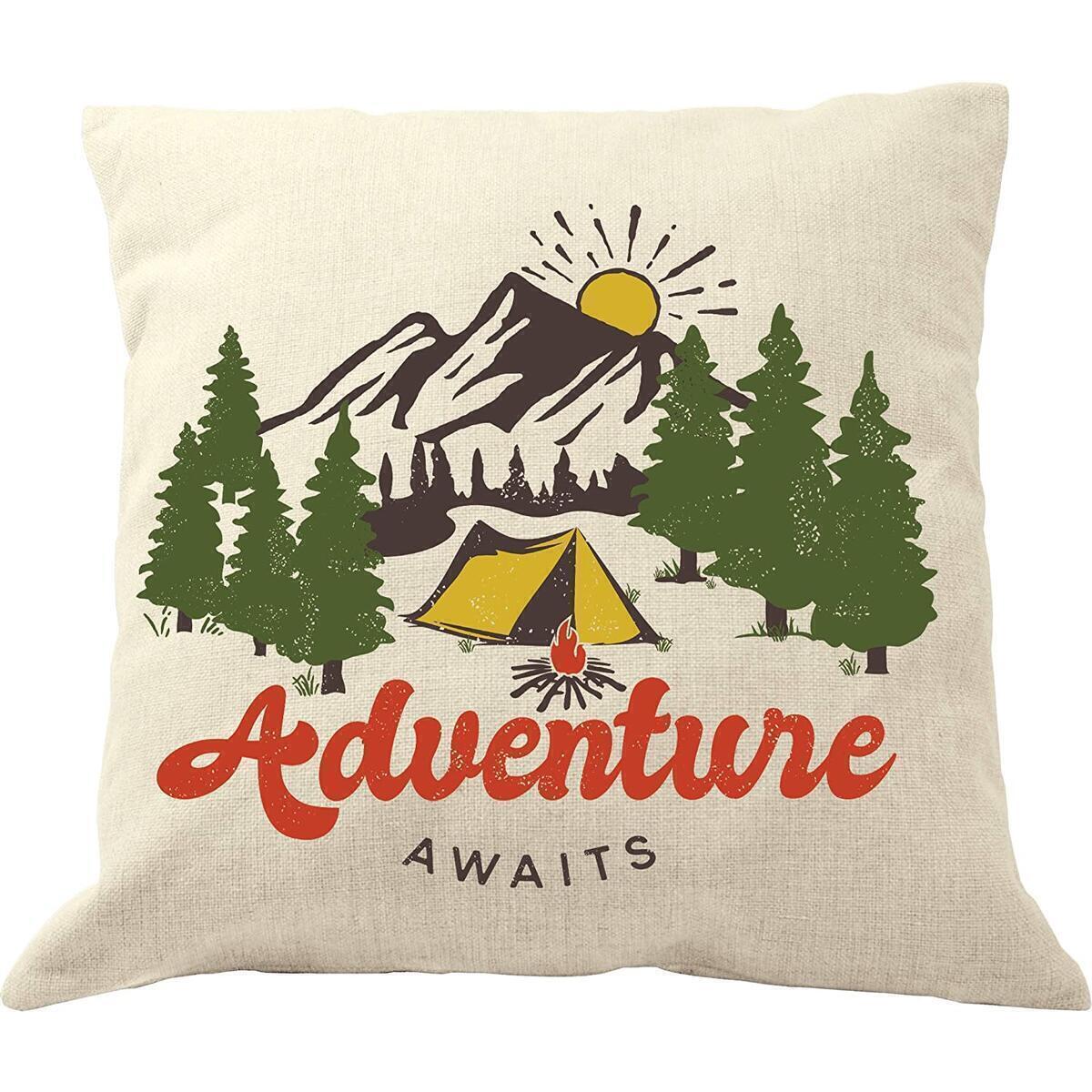 DrupsCo Adventure Awaits Pillow Cover - 18 x 18 Adventure Throw Pillow - Adventure Decor Throw Pillow Cover