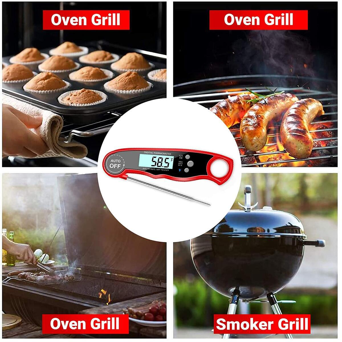 Meat Thermometer Instant Read for Grilling – Instant Read Food Thermometer – Dual Probe Digital Kitchen Thermometer – LCD Display – Alarm, Magnet Function and Wide Probe – Includes Extra Battery