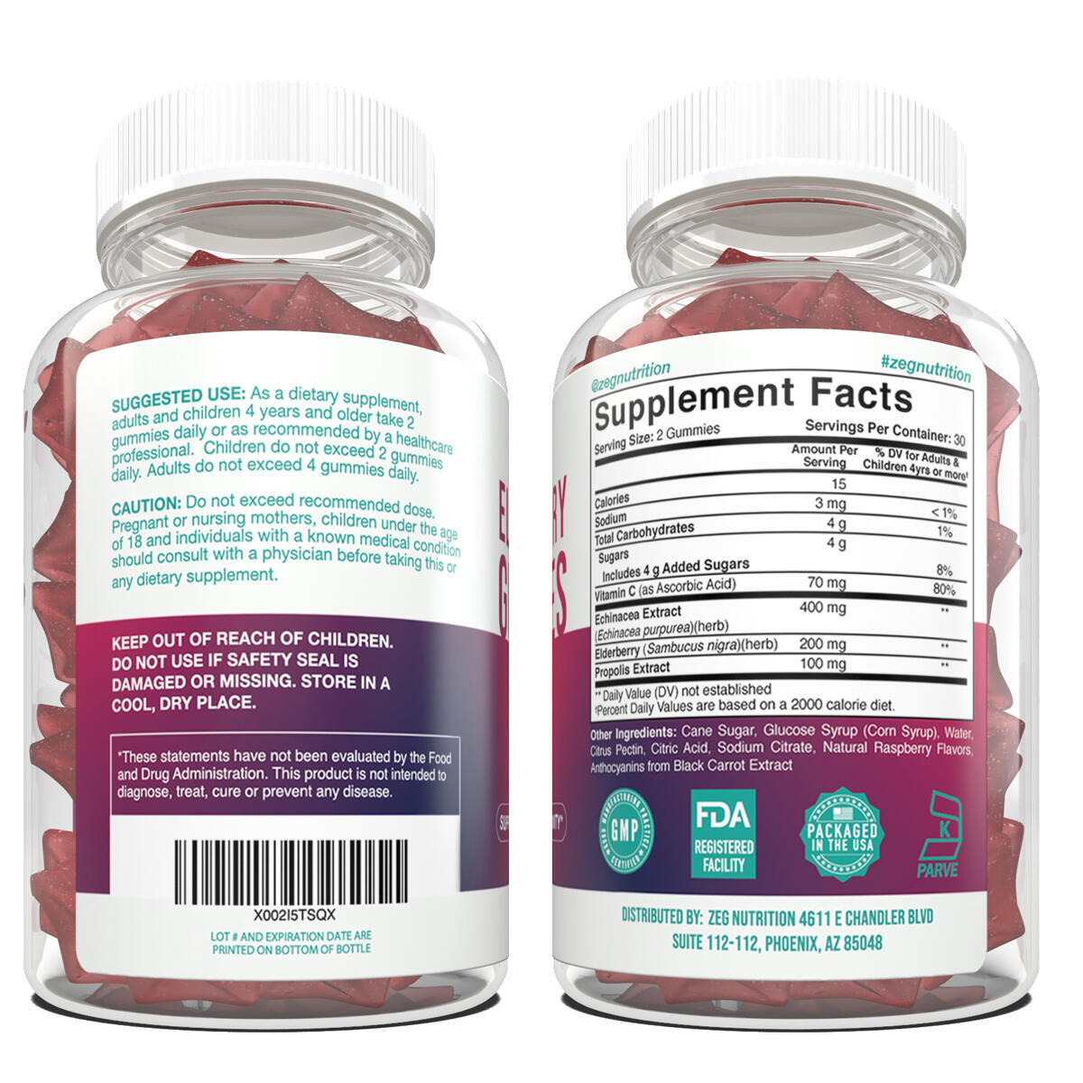 Elderberry Gummies for Adults and Kids - Immune Support Gummies - Black Elderberry - Immune Supplement with Vitamins and Herbs - 60 Gummies