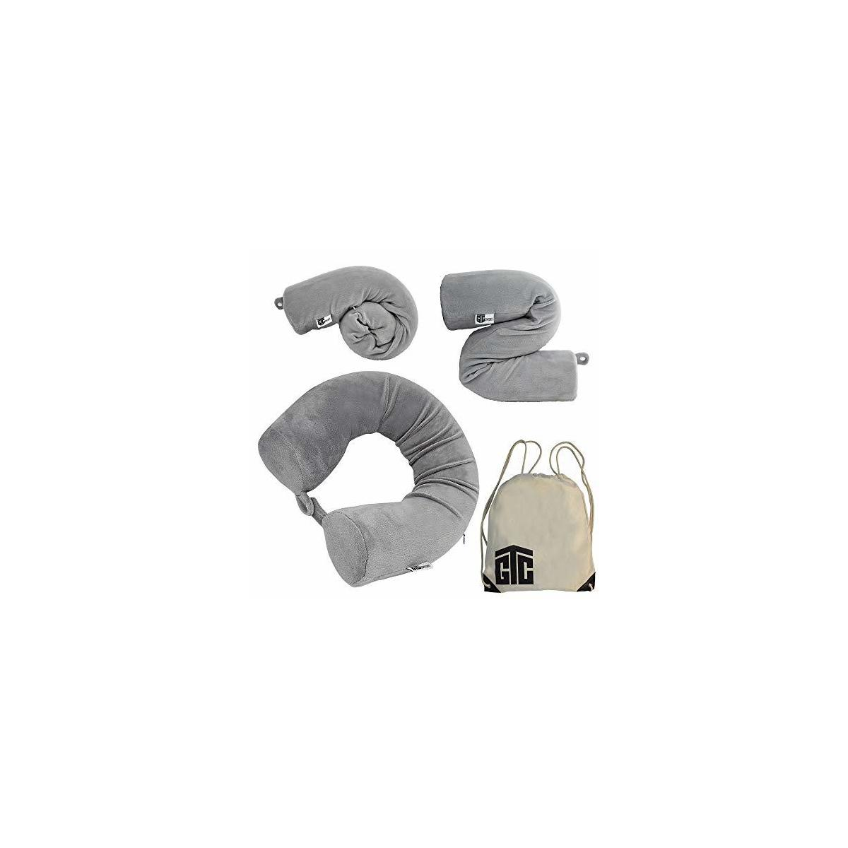 GTComfort Twist Travel Pillow Neck Adjustable Back & Lumbar Support, Memory Foam Lightweight - Accessories for Airplane Train Bus Flights Travelling & Home, Soft & Comfort Sleeping Anywhere