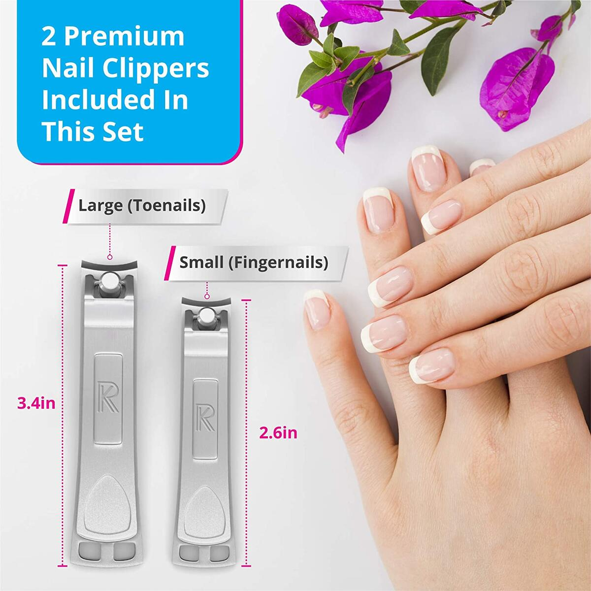 Nail Clippers Set - Fingernail Clippers & Toenail Clippers With FLIP OUT Nail Files/Cleaners