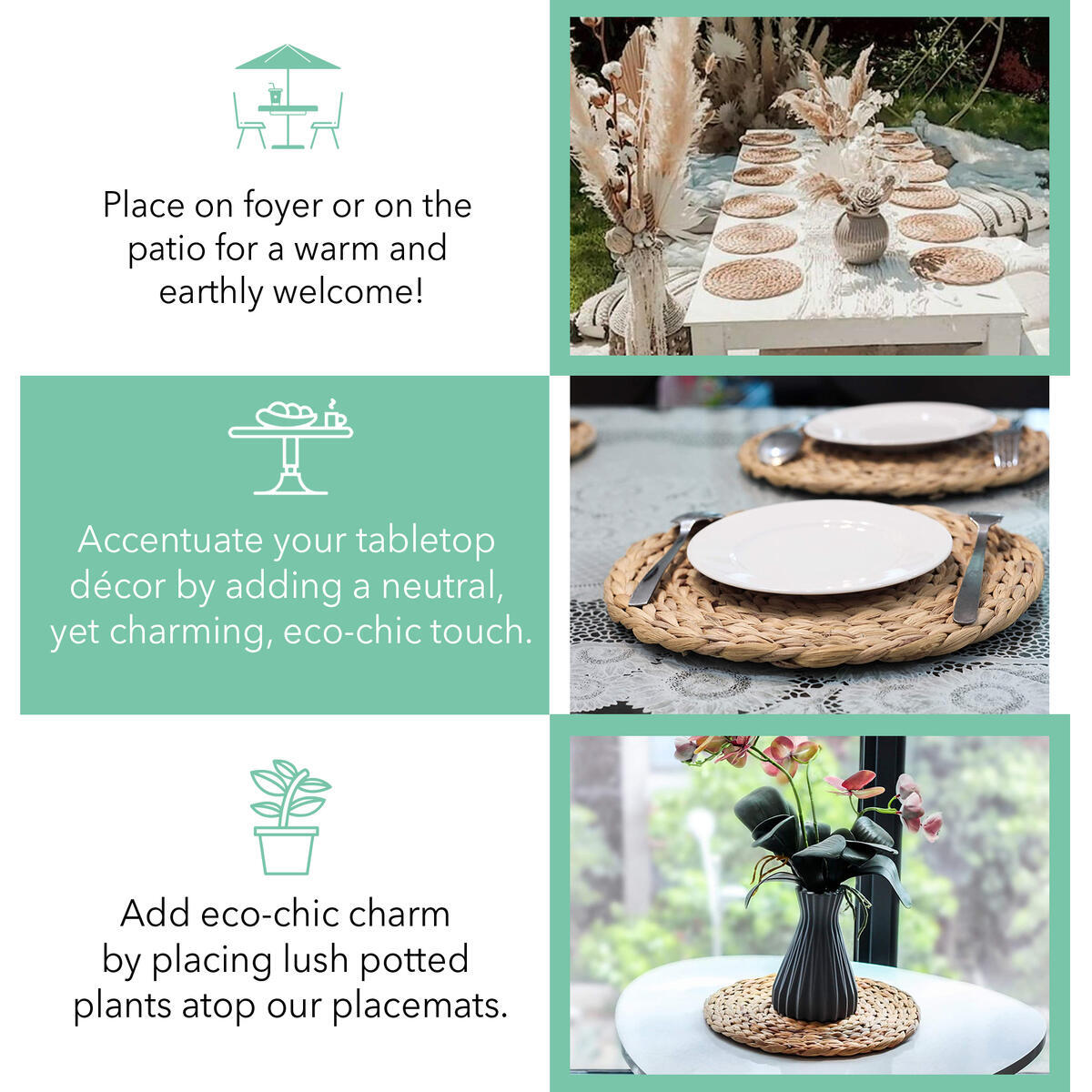 Set of 4 Woven Placemats - BONUS Set of 4 Premium Cloth Napkins to Compliment your Woven Placemat - Braided Seagrass Fiber for Eco Friendly, Natural Placemats - Round and Thick Woven Charger Placemats