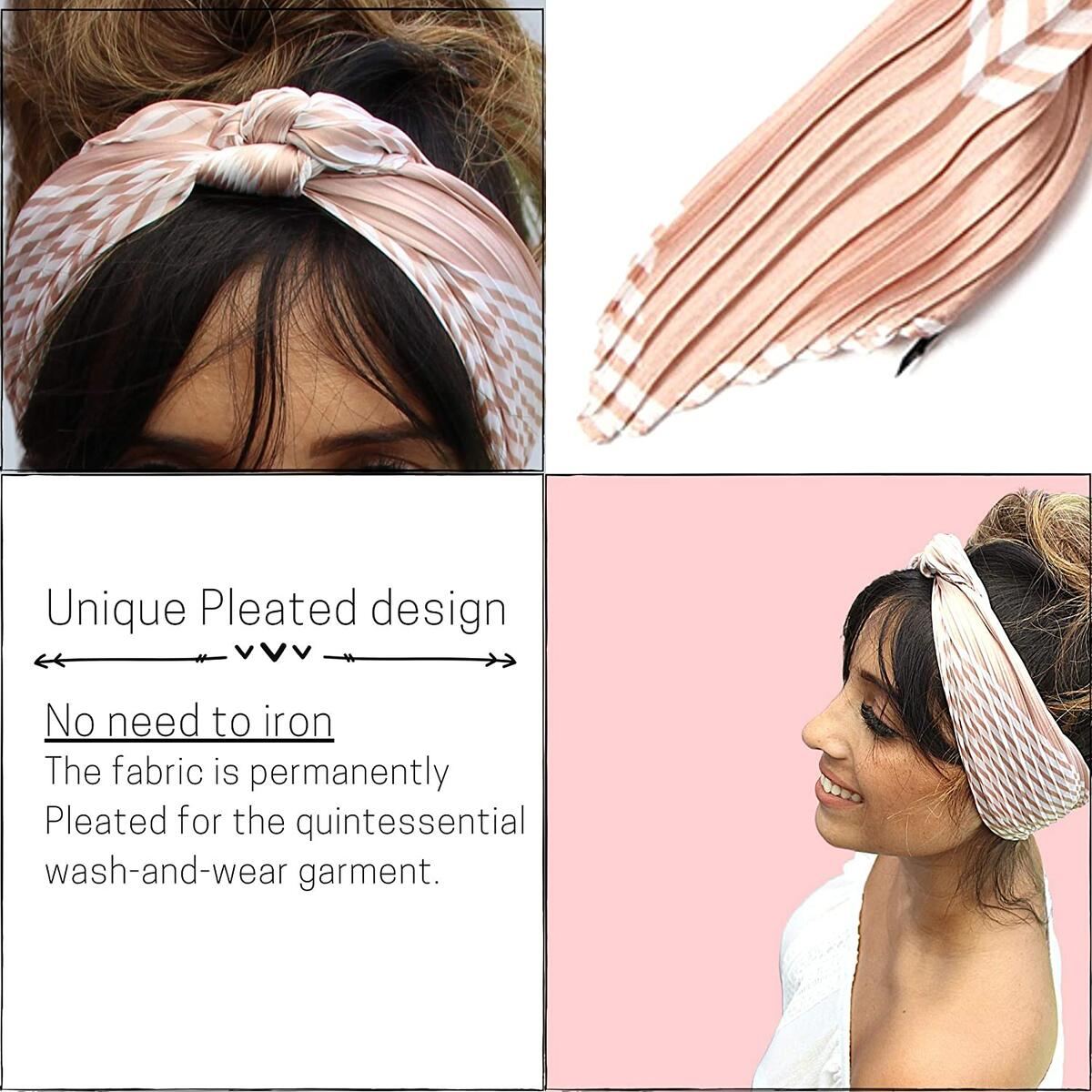 Pleated Bandanas for Women - Silky Square Scarf – Reusable Face Covering - 27.5x27.5 Inches.