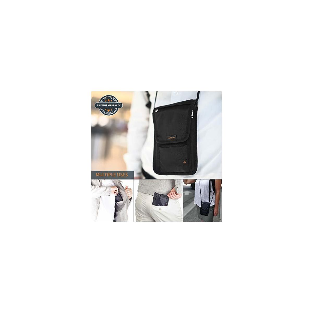 Tarriss Neck Wallet with RFID Blocking - Concealed Passport Holder and Travel Neck Pouch