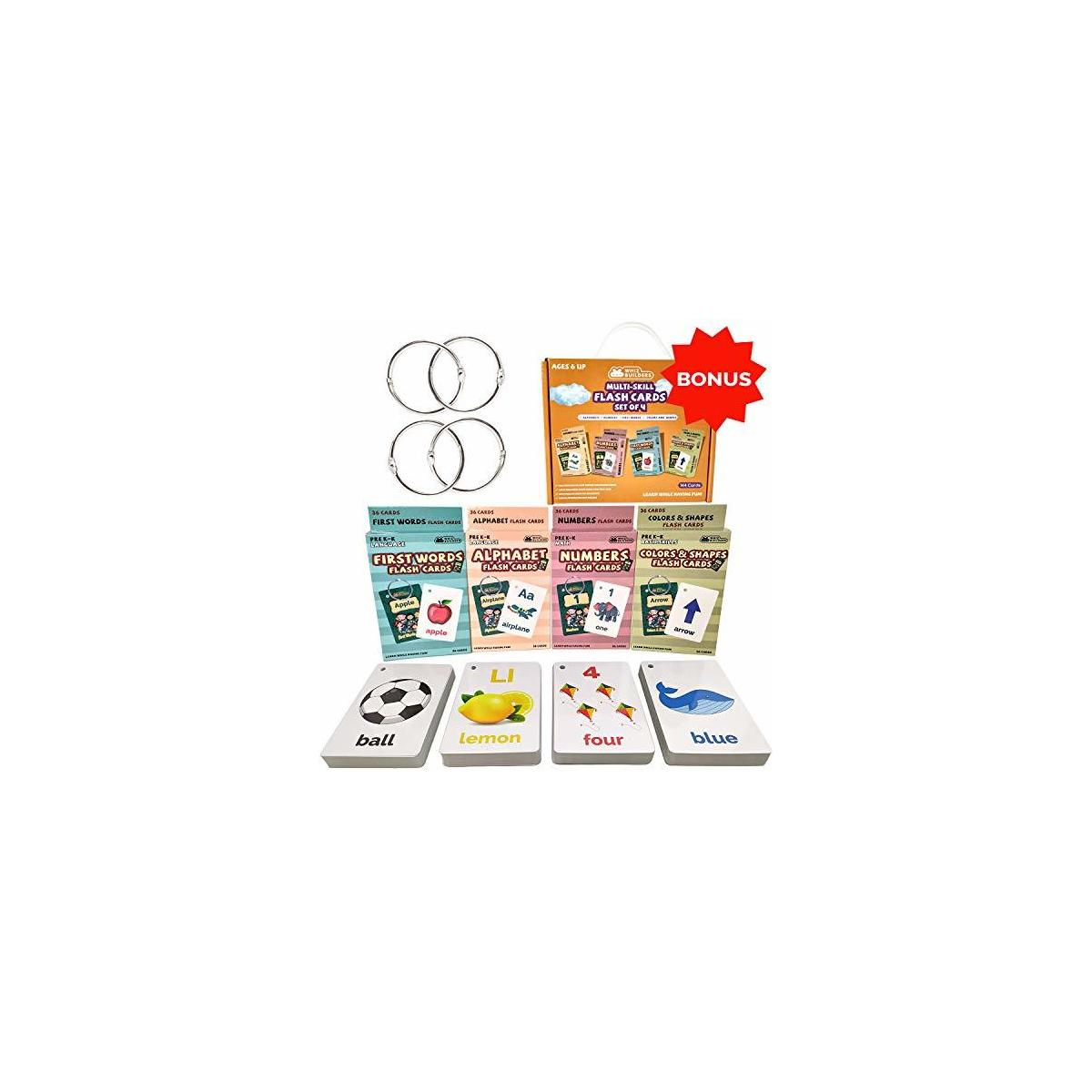 WhizBuilders Multi Skill Preschool Flash Cards Set Pack of 4 Alphabets, Numbers, First Words, Colors and Shapes Flash Cards for Children – Gift for Kindergarten and Preschool