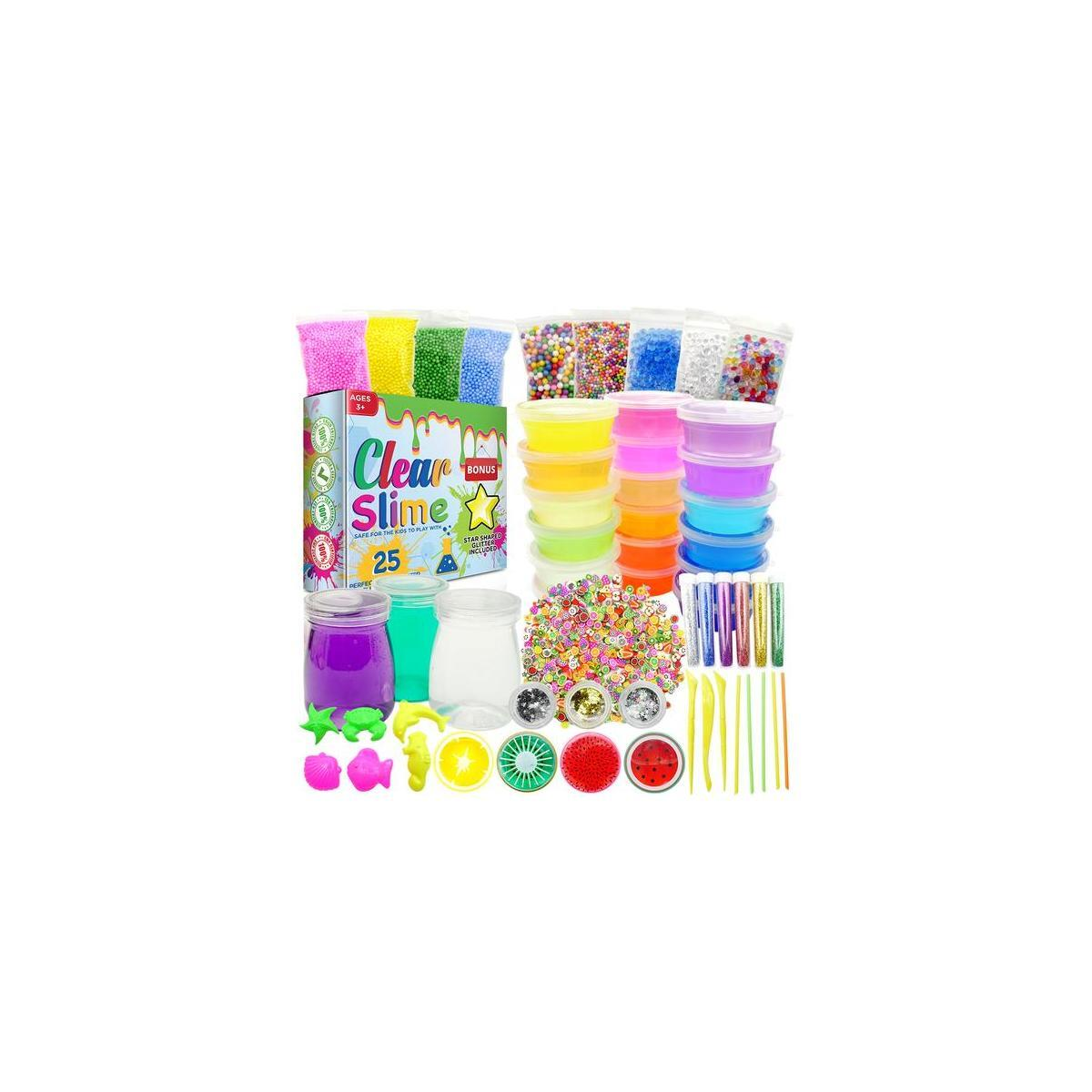Clear Slime 58pc Kit for DIY Crystal Slime | 25 Colors Slime, 6 Pack Foam Beads, 4 Fruit and 3 Jars | Complete Supplies and Glitter Accessories for Boys and Girls