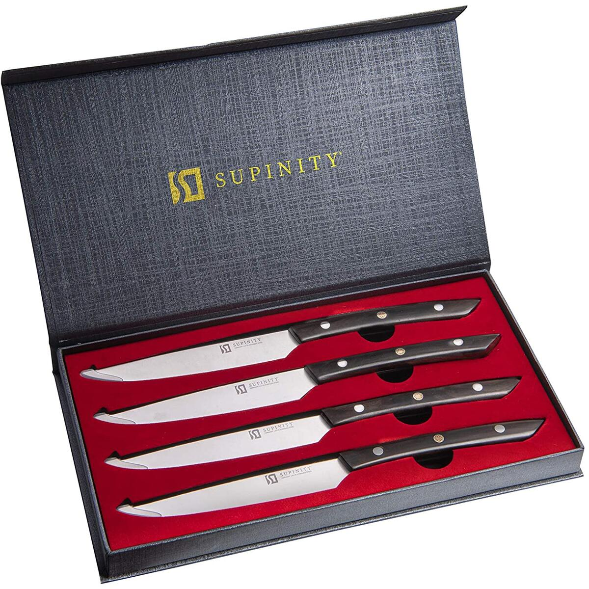 Supinity Steak Knives Set of 4 - Full Tang German Stainless Steel