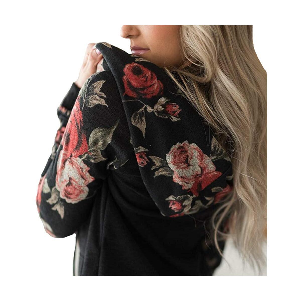 Minipeach Women's Pullover Long Sleeve Hoodies Coat Loose Casual Sweatshirts with Pocket Black