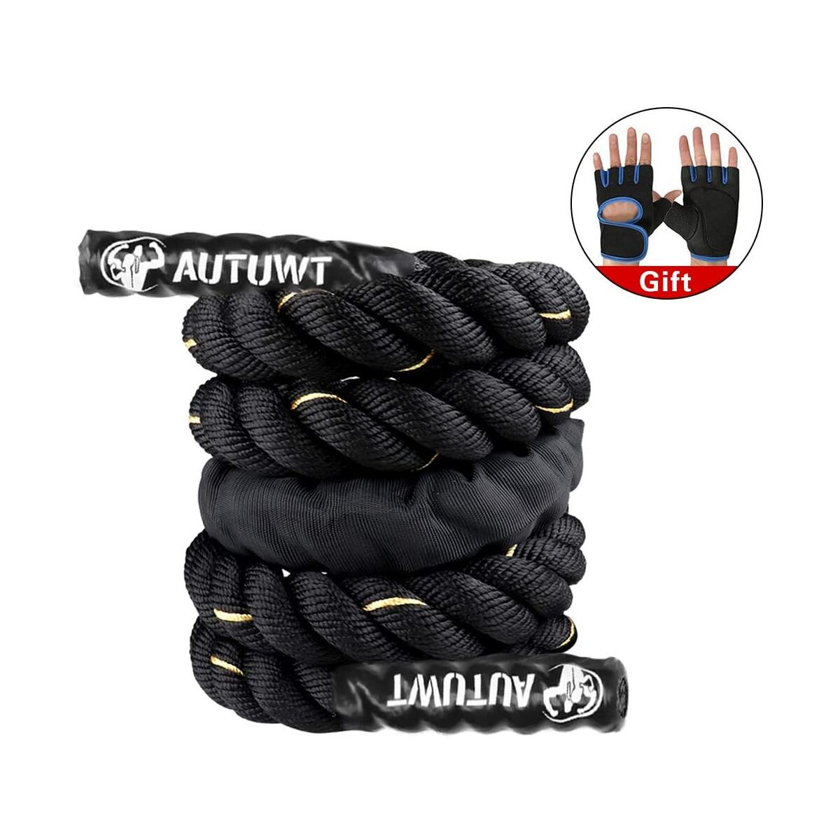 "AUTUWT Heavy Jump Rope Skipping Rope Workout Battle Ropes with Gloves for Men Women Total Body Workouts Power Training Improve Strength Building Muscle 1""*9.2ftft"