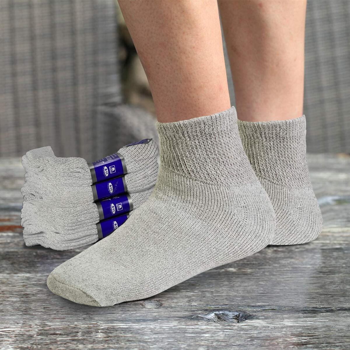 Diabetic Ankle Socks Mens Womens Non-binding Socks Loose Fit 6 Pairs REBATE APPLIES TO GREY