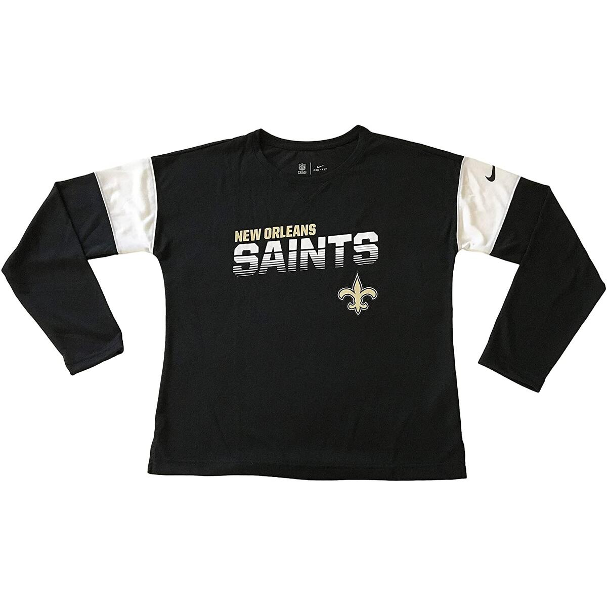 Nike New Orleans Saints NFL Women's T-Shirts Long Sleeve Crew Neck T-Shirt (Large, Black AR8655)
