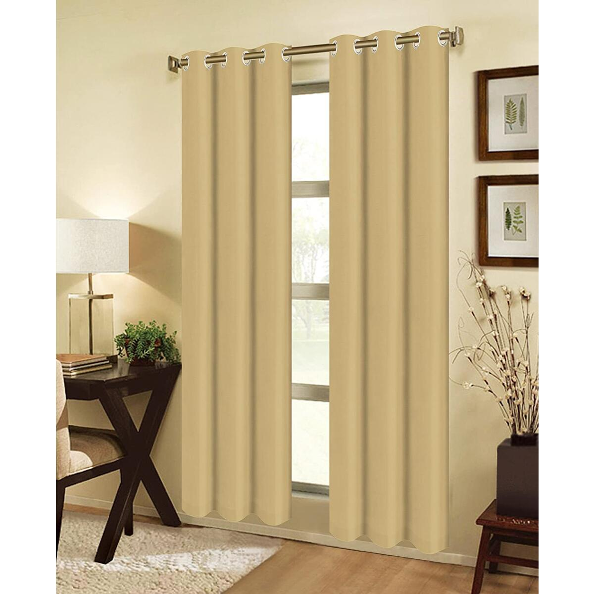 Window Treatment Curtain Set Light Reducing Curtains for Living Room, Curtain Panels for Patio Door Solid Blackout Drapes Many Colors & Sizes (Gold, 2PC 37 X 84 (74 X 84 Total))