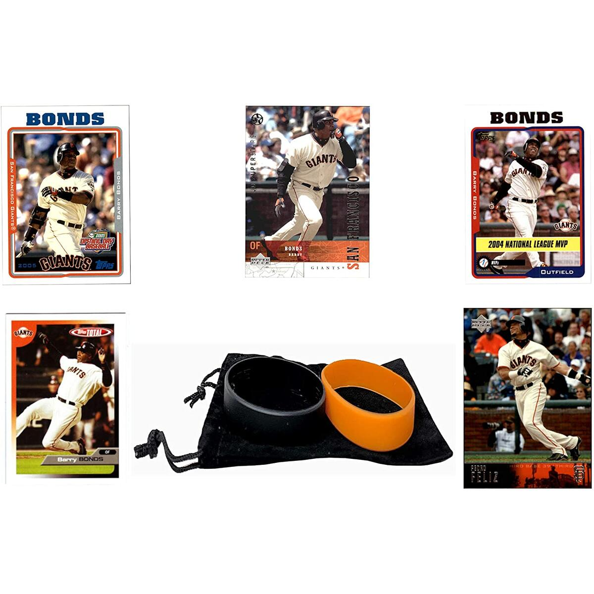 Barry Bonds Baseball Cards (5) ASSORTED San Francisco Giants Trading Card and Wristbands Gift Bundle