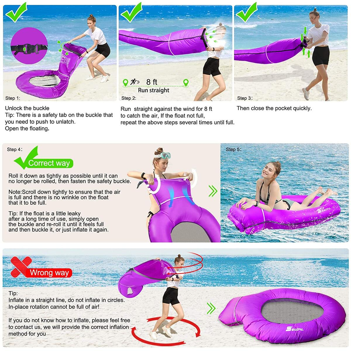 Pool Floats Inflatable Floating Lounger Chair Water Hammock Raft Swimming Ring Pool Toy Lightweight Single Layer Nylon Fabric No Pump Required