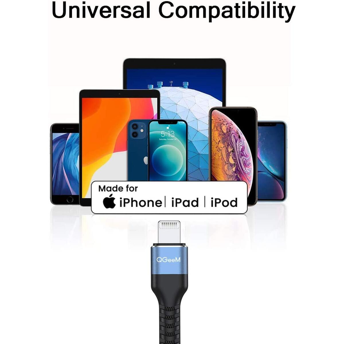 iPhone Charger Cable Fast Charging High Speed Data Sync Transfer Cord 1M