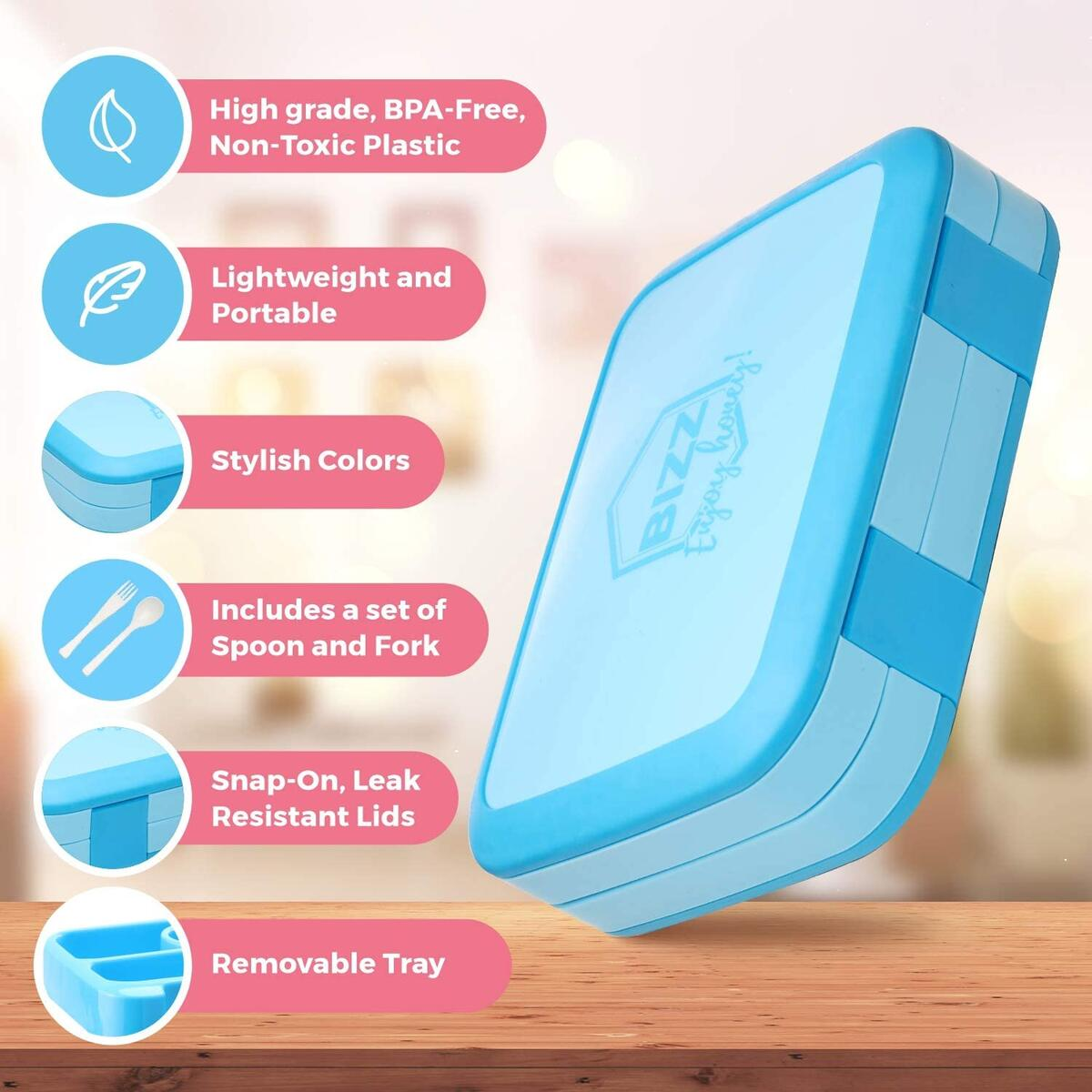 Bento Box Style Lunchbox with Spoon - -Leakproof - Blue
