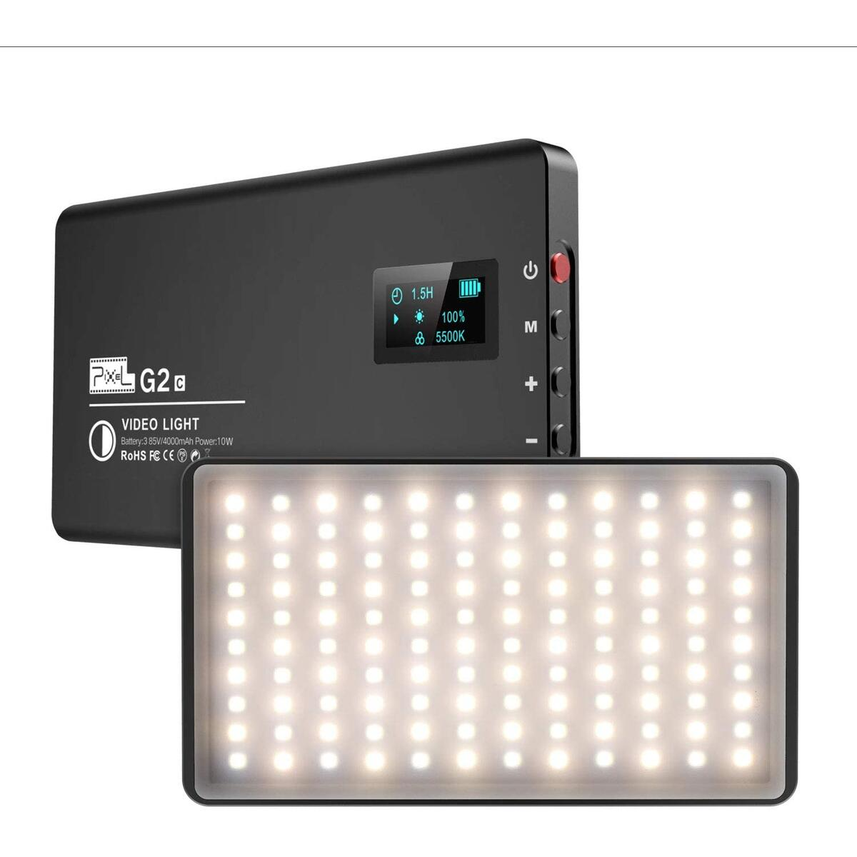 Pixel Ultra-Slim Bi-Color LED Camera Light, Built-in Rechargeable 4000mAh Battery LED Panel Light, 3200K-5600K Portable Led Light Panel, LED Video Light for Camera, Camera Lighting for Photography