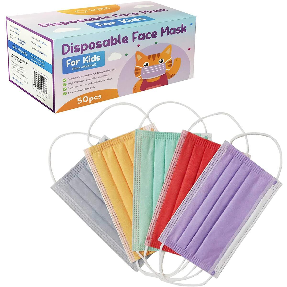 Children Disposable Face Masks (50ct) Multicolor, Kids Saturated Single Color, 3ply