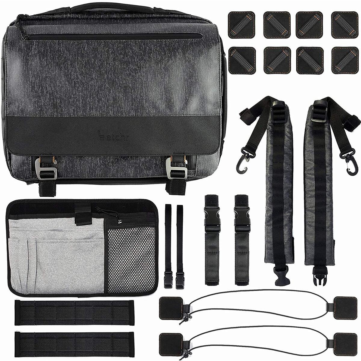 ETCHR Art Satchel - Artist Messenger Bag for Art on the Go - Professional Tripod Mountable Art Bag for Supplies - Multi Functional Weatherproof and Vegan-Friendly Travel Artist Bag for Tool Management