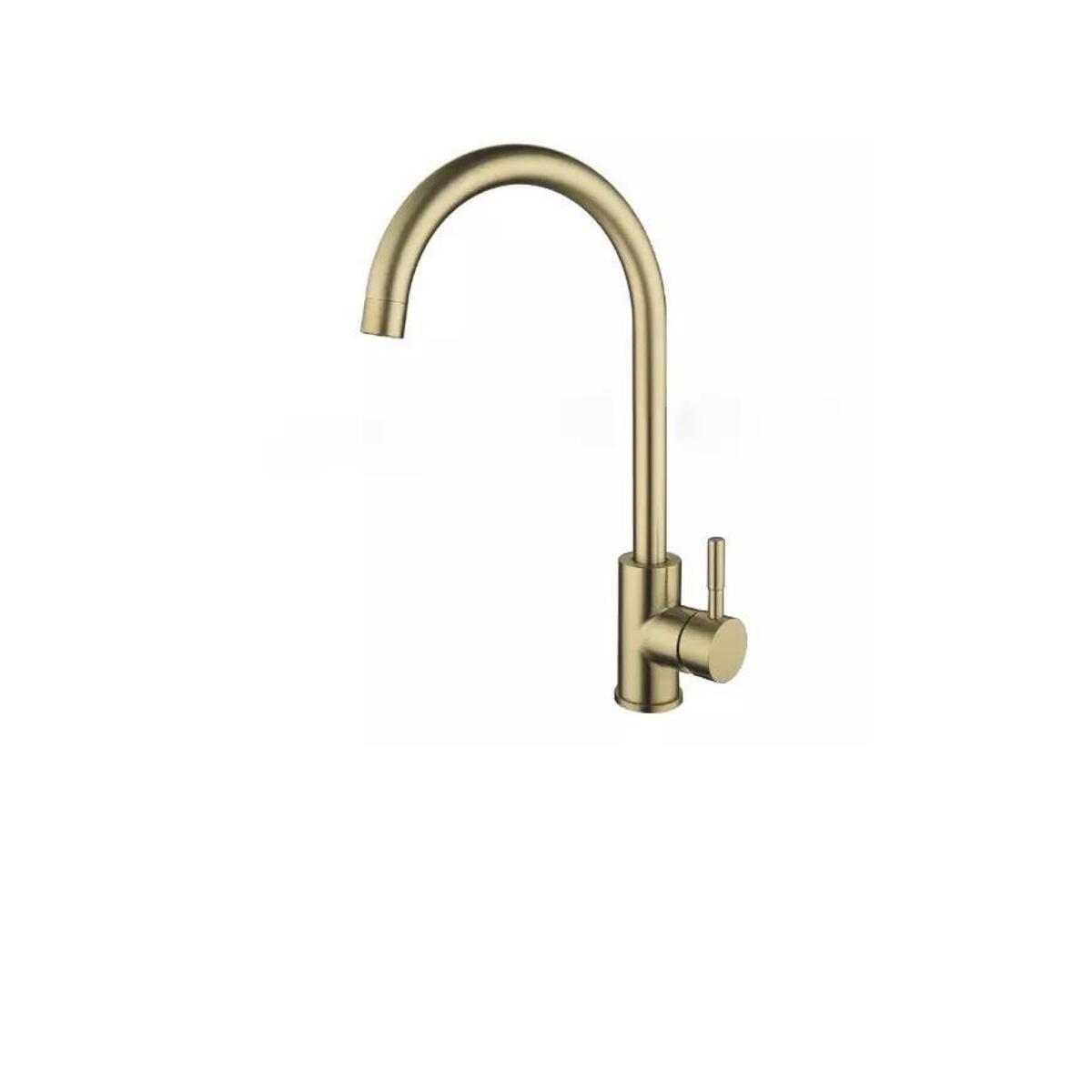 Brushed Gold Kitchen Sink Faucet, Rotates 360 Degrees- Stainless Steel