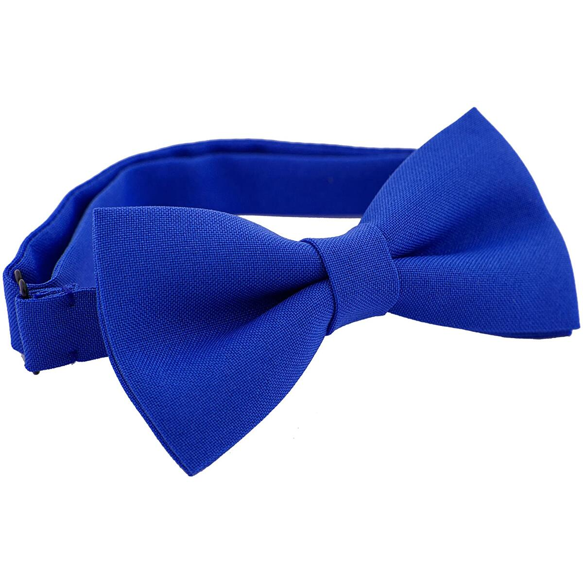 Classic Pre-Tied Bow Tie Formal Solid Tuxedo, by Bow Tie House (Medium, Electric Blue)