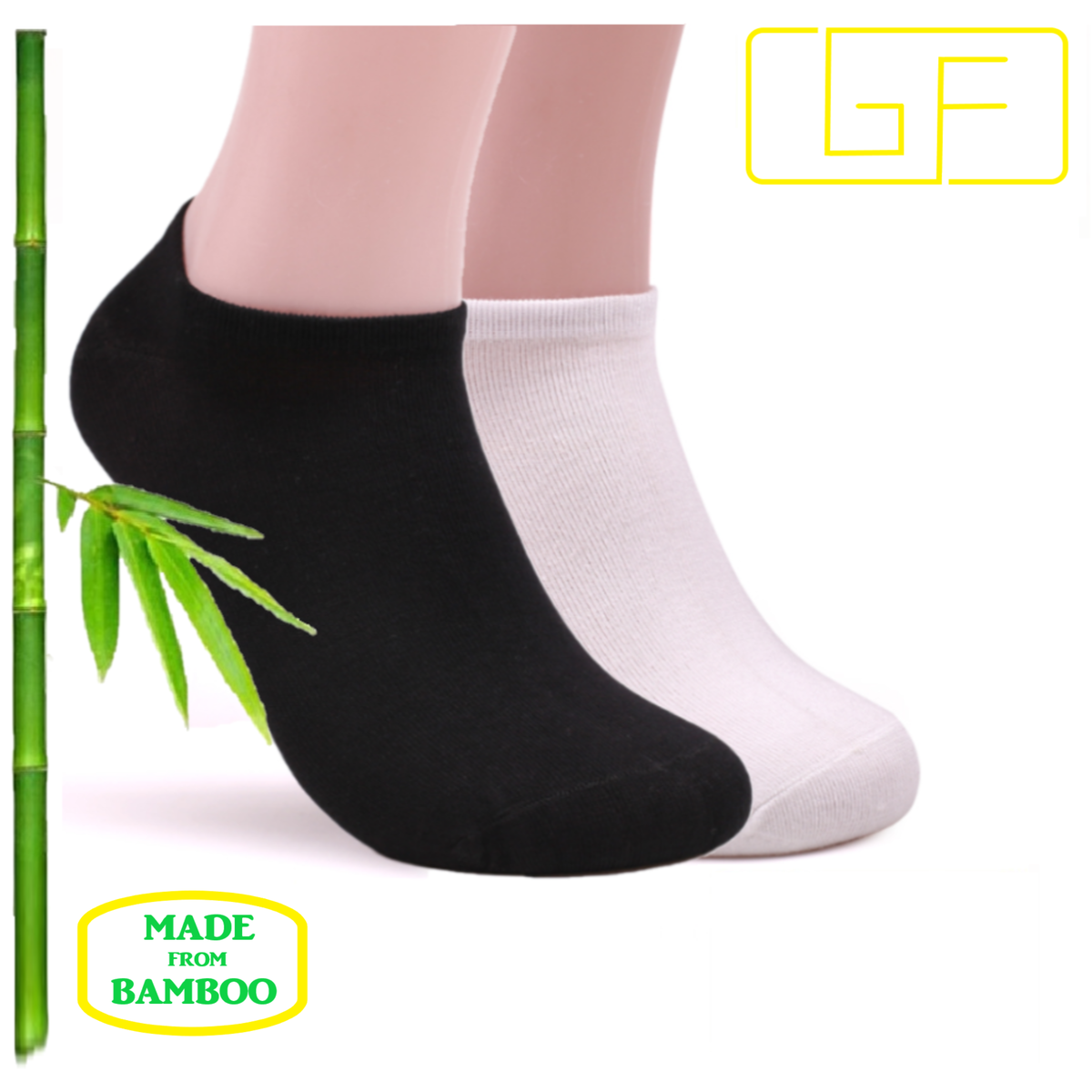 5 Pairs of Low Cut Bamboo socks, Black and White, Man and Woman, Size 8-12