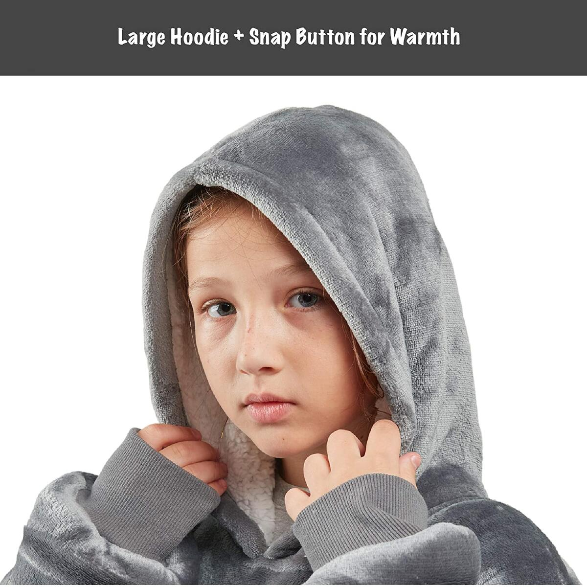 KID SIZE ONLY any color [Degrees Of Comfort] Blanket Hoodie for Kids | Cool Birthday Gifts for Girls Boys, Soft Microfiber Fleece and Fuzzy Sherpa Kids Wearable Blankets Sweatshirt, One Size Fits All, 30x28