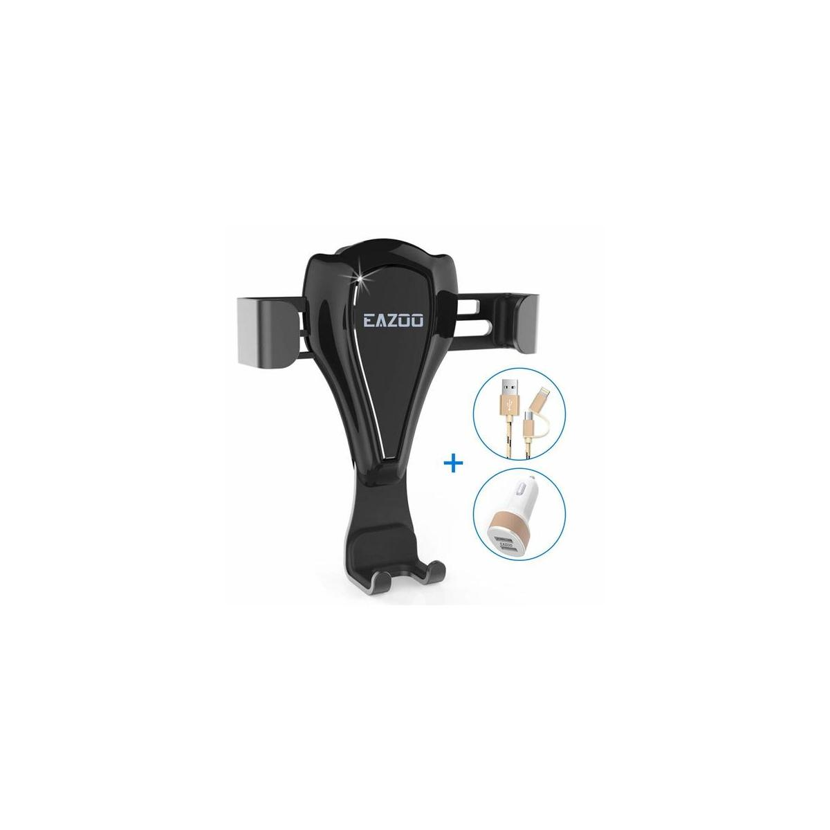 EAZOO Car Phone Mount Air Vent Phone Holder for Car with USB Cable, Car Charger and Cleaning Set