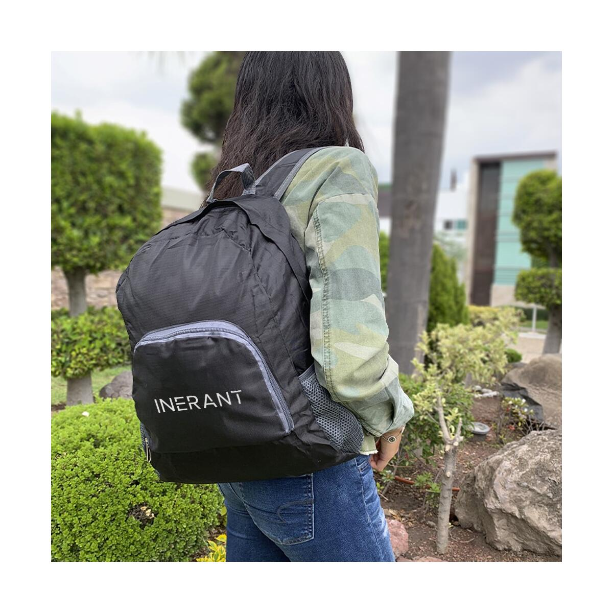 INERANT 20L Lightweight Packable Backpack - 2 Foldable Travel Bags - Black/Gray