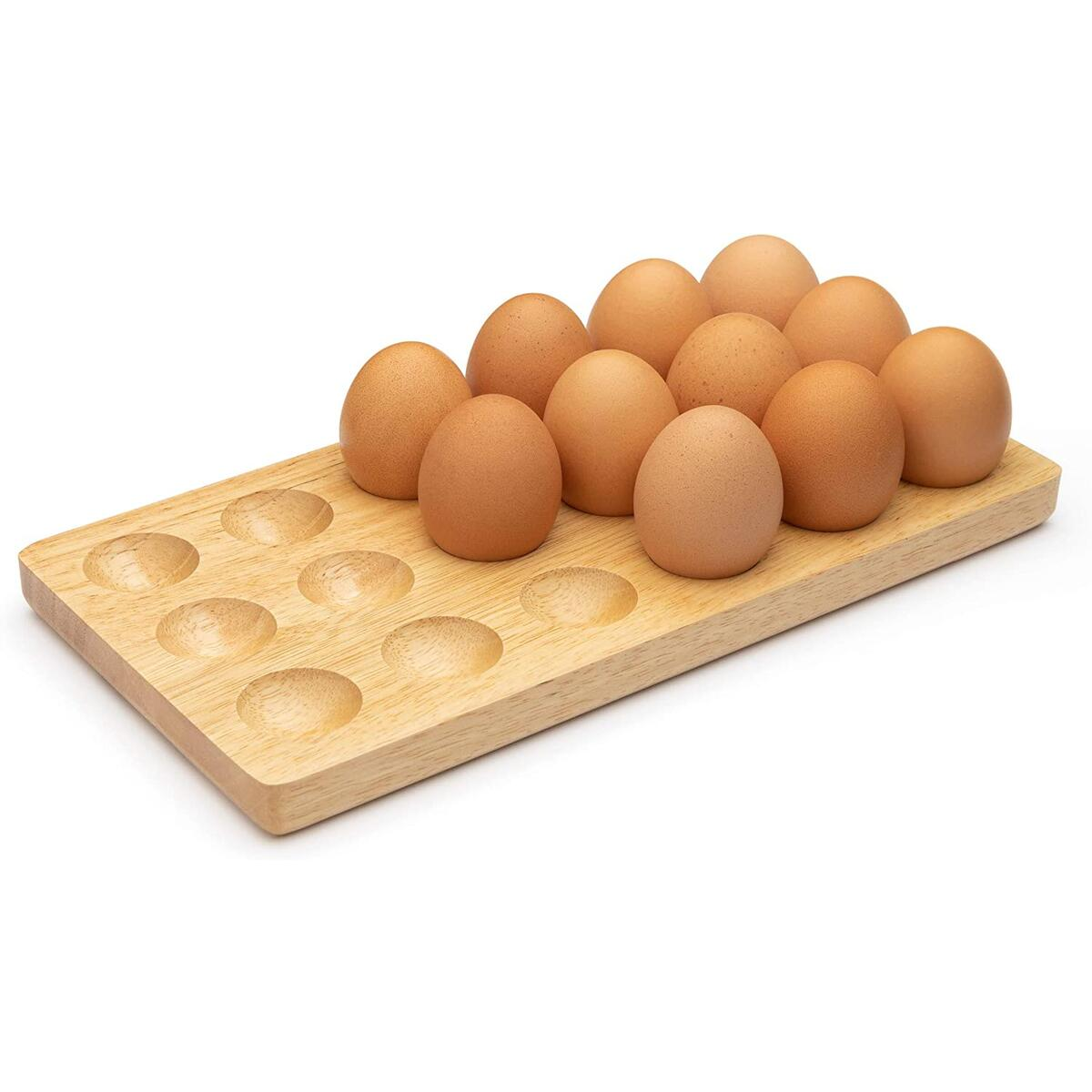 Wooden Egg Tray 18 Holder by Royal Signet, Handmade Solid wood egg tray holder for Refrigerator, or Countertop for Display or Storage. Egg tray, deviled egg, wooden egg holder for storage