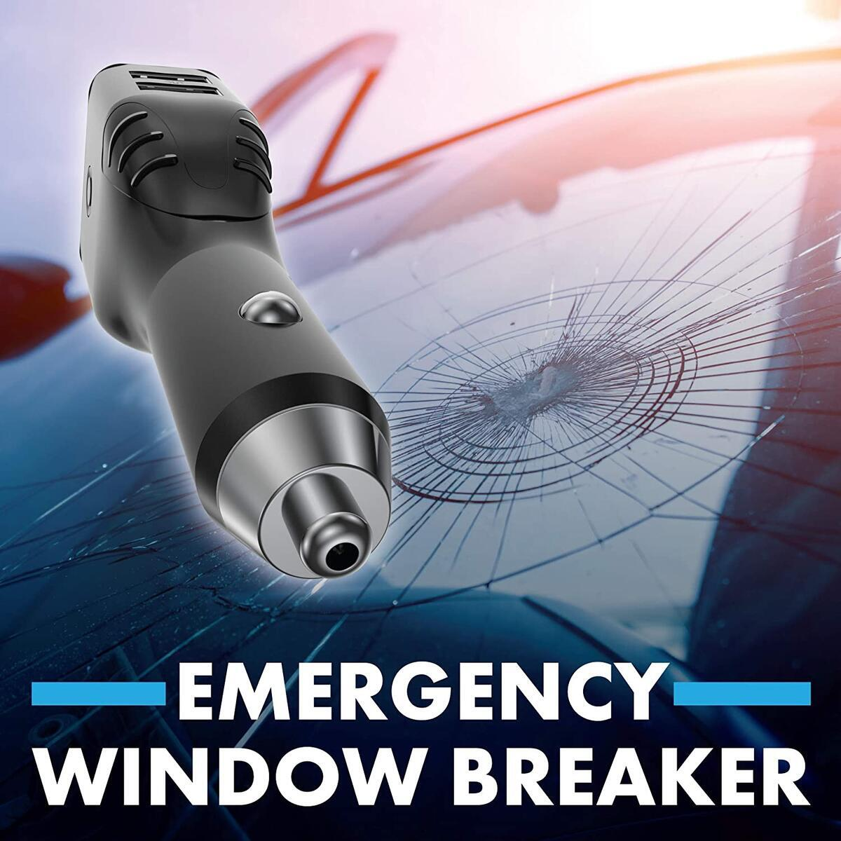 Emergency 6-in1 Car Safety Device USB Car Charger Window Breaker Seat Belt Cutter 2200mAh Power Bank Powerful LED Flashlight with Red Emergency Beacon