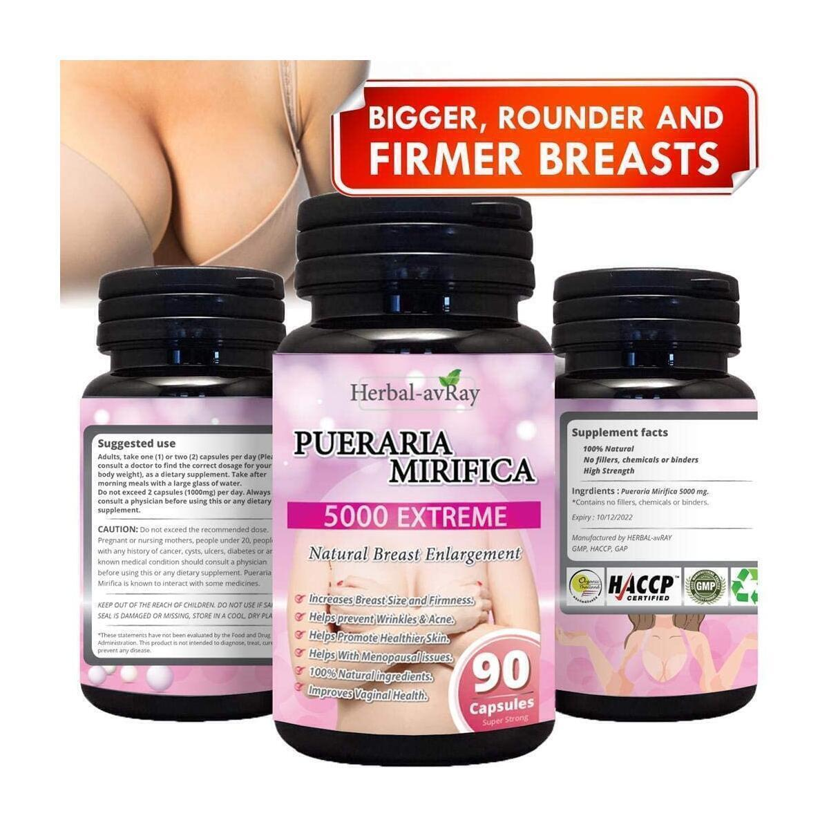 Pueraria Mirifica Capsules 5000mg | Natural Breast Enhancement Pills for Women | Breast Enlargement Pills | Breast Enlarger, Vaginal Health, Menopause Relief, Skin & Hair Health 90 Vegetarian Capsules