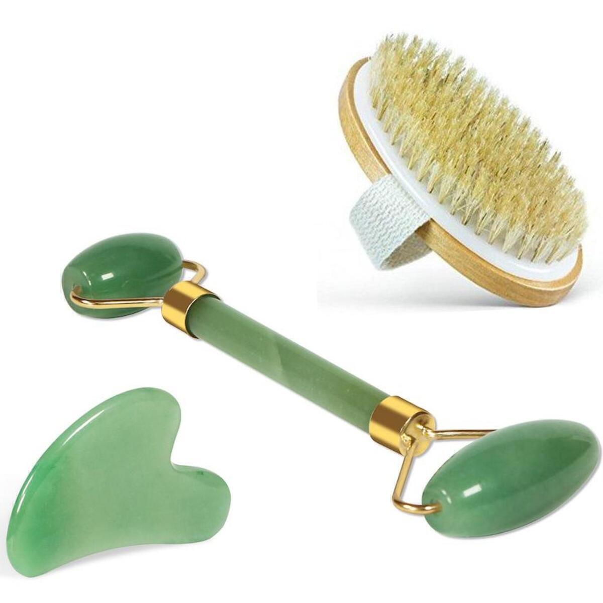 Real Jade Roller, Gua Sha and Dry Brush Gift Set